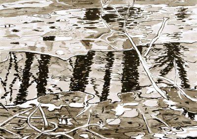 Schmelzendes Eis am Bachufer